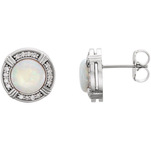 Great Buy in Platinum Opal & 0.17 Carat Total Weight Diamond Earrings
