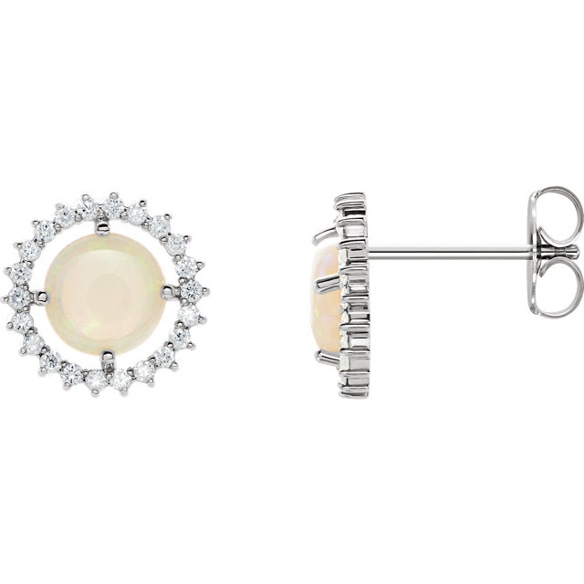Easy Gift in Platinum Opal & 0.12 Carat Total Weight Diamond Earrings