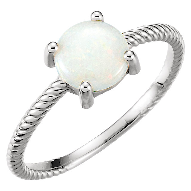 Gorgeous Platinum Opal Cabochon Ring