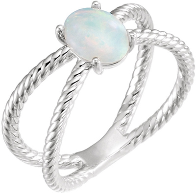 Low Price on Platinum 8x6mm Oval Cabochon Rope Ring Mounting