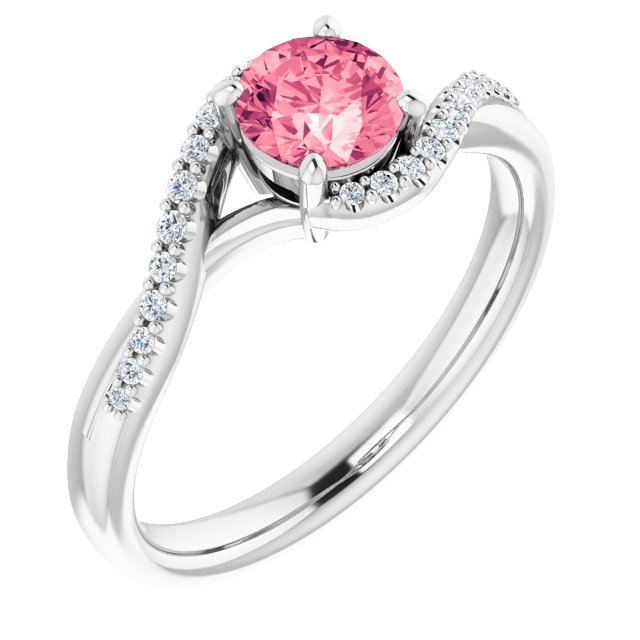 Genuine Topaz Ring in Platinum Passion Pink Topaz & 1/10 Carat Diamond Ring