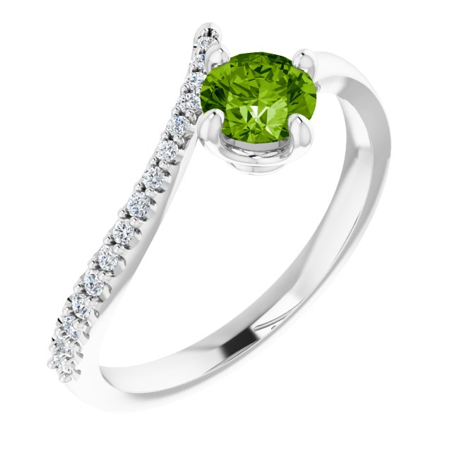 Peridot Ring in Platinum Peridot & 1/10 Carat Diamond Bypass Ring