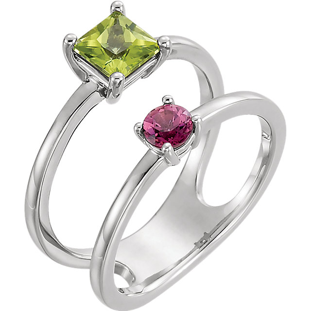 Beautiful Platinum Square Genuine Peridot & Square Genuine Pink Tourmaline Two-Stone Ring