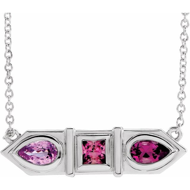 Multi-Gemstone Necklace in Platinum Pink Multi-Gemstone Geometric Bar 16