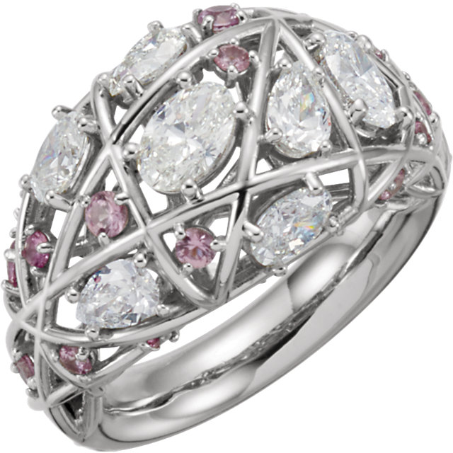 Great Deal in Platinum Pink Sapphire & 2 Carat Total Weight Diamond Nest Design Ring
