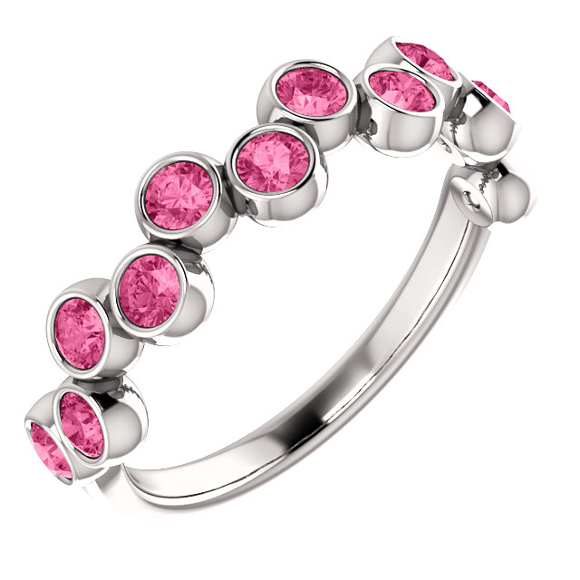 Perfect Jewelry Gift Platinum Pink Tourmaline Bezel-Set Ring