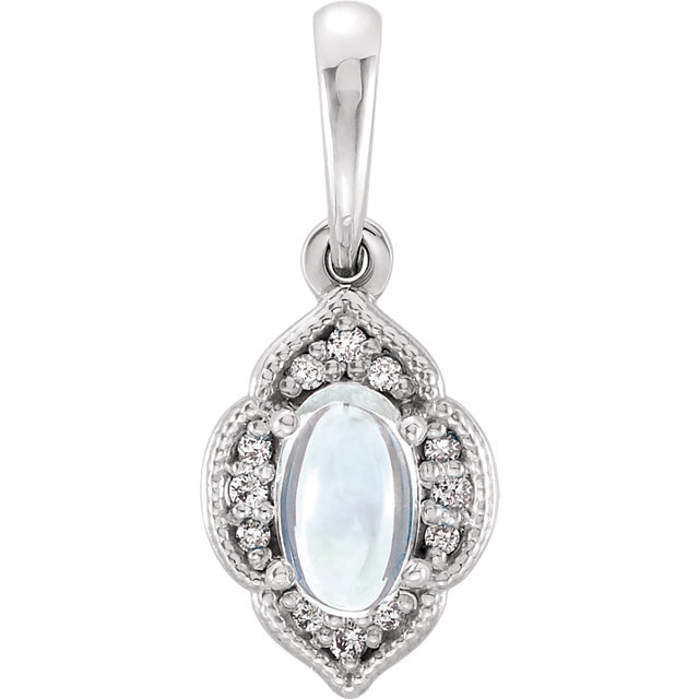 Great Gift in Platinum Rainbow Moonstone & .03 Carat Total Weight Diamond Clover Pendant