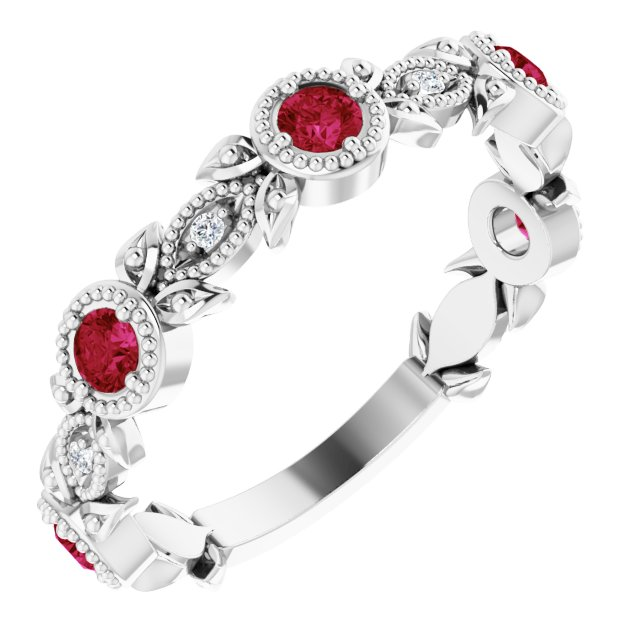 Genuine Ruby Ring in Platinum Ruby & .03 Carat Diamond Leaf Ring