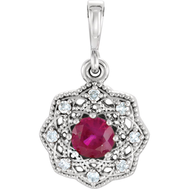 Perfect Gift Idea in Platinum Ruby & .06 Carat Total Weight Diamond Halo-Style Pendant