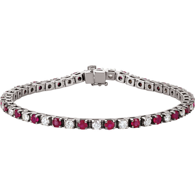 Red Ruby Bracelet in Platinum Ruby & 2 0.40 Carat Diamond 7.25