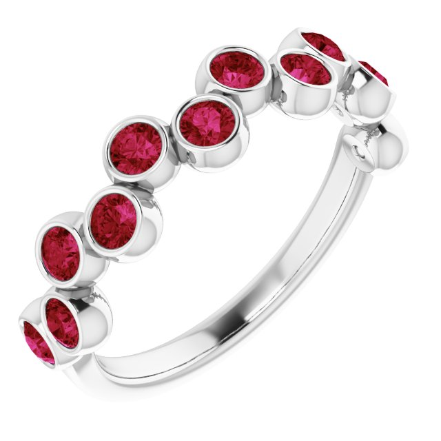 Genuine Ruby Ring in Platinum Ruby Bezel-Set Ring
