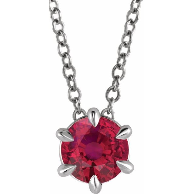 Genuine Ruby Necklace in Platinum Ruby Solitaire 16-18