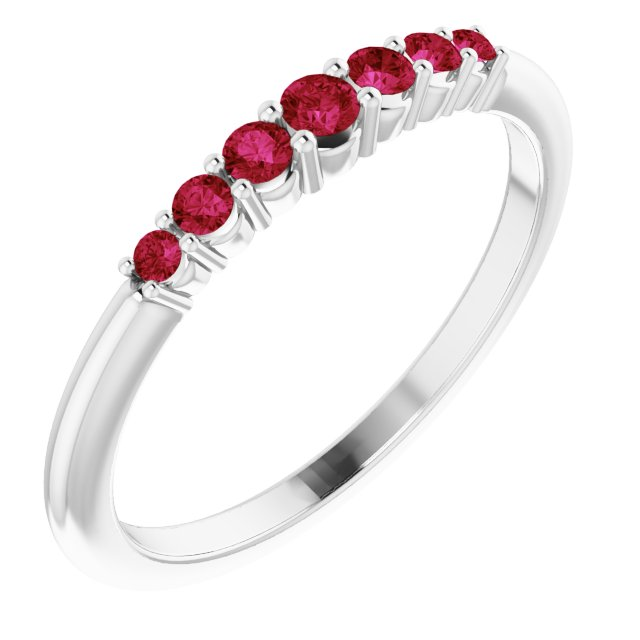Genuine Ruby Ring in Platinum Ruby Stackable Ring