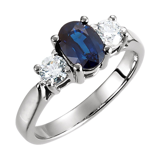 14 Karat White Gold Genuine Blue Sapphire & 0.40 Carat Diamond Ring
