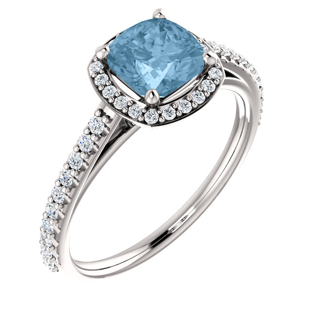 Platinum Sky Blue Topaz & 0.33 Carat Diamond Ring