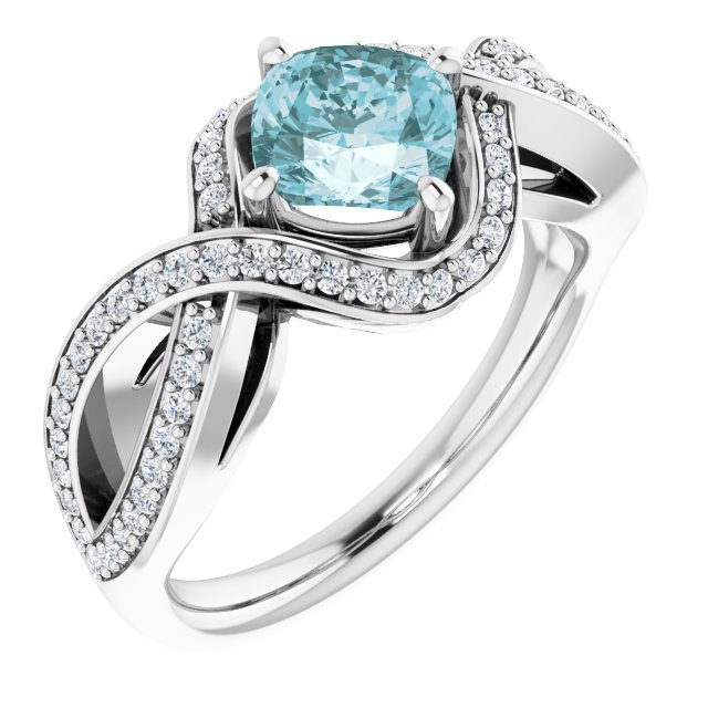 Genuine Topaz Ring in Platinum Sky Genuine Topaz & 1/3 Carat Diamond Ring