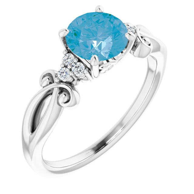 Genuine Topaz Ring in Platinum Swiss Genuine Topaz & .06 Carat Diamond Ring