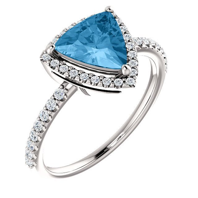 Fantastic Platinum Trillion Genuine Swiss Blue Topaz & 1/4 Carat Total Weight Diamond Ring