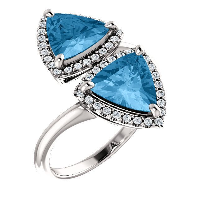 Trendy Platinum Triangle Genuine Swiss Blue Topaz & 1/5 Carat Total Weight Diamond Ring