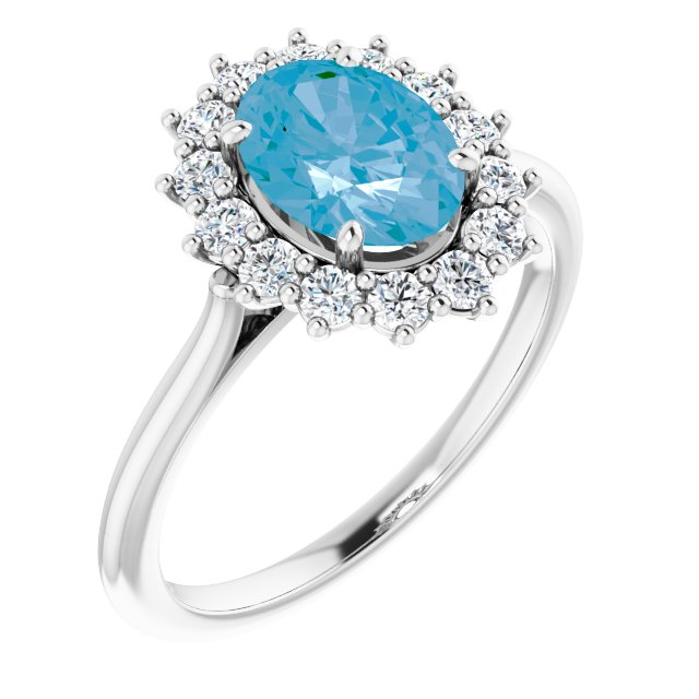 Genuine Topaz Ring in Platinum Swiss Genuine Topaz & 3/8 Carat Diamond Ring