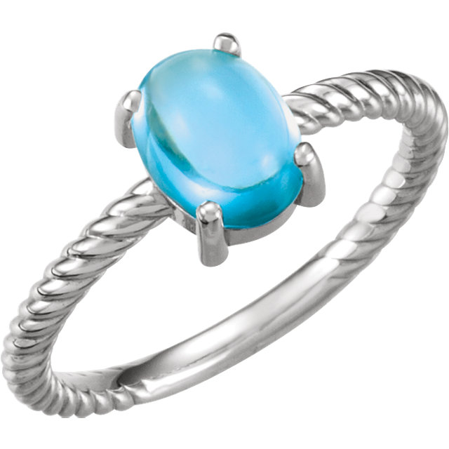 Contemporary Platinum Swiss Blue Topaz Cabochon Ring