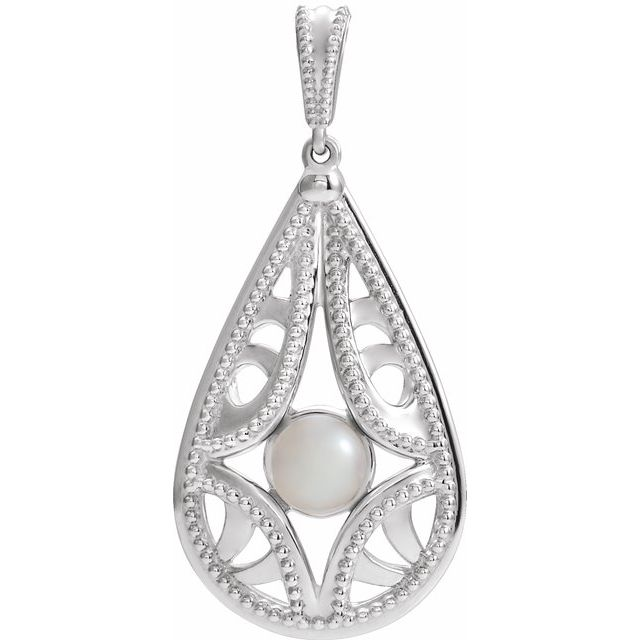 Real Cultured Freshwater Pearl Pendant in Platinum Vintage-Inspired Freshwater Cultured Pearl Pendant