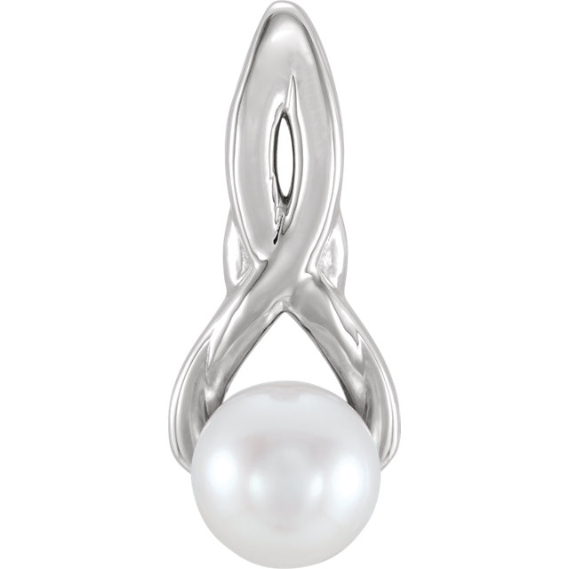 Appealing Jewelry in Platinum Freshwater Cultured Pearl Pendant