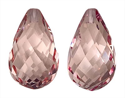 Pleasing Proportions, Nigerian Morganite Gem, Briolette Cut, 12.1 x 7.3 mm, 8.15 carats