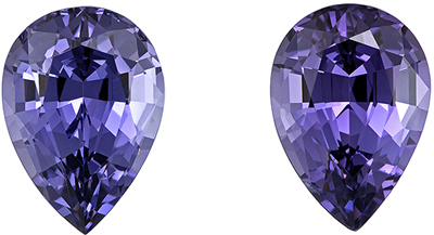 Pleasing Purple Spinel Well Matched Pair, 6.9 x 4.9 mm, Lavender Purple, Pear Cut, 1.72 carats