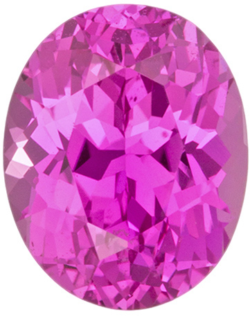 Pop of Color Pink Sapphire Gemstone in Oval Cut, Vivid Intense Pink, 7.9 x 6.4 mm, 1.86 carats