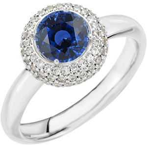 Popular Royal Blue 1ct 6mm Round Cut Blue Sapphire set in Low Price on White Gold & Diamond Ring for SALE