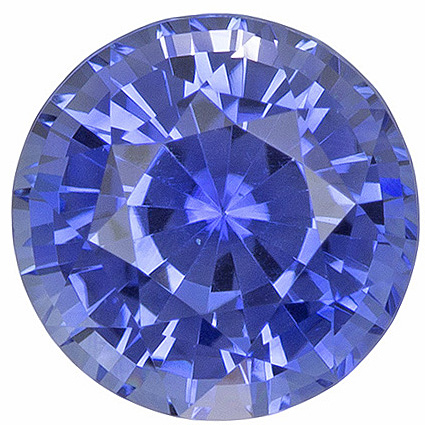 Popular Size in Blue Sapphire Loose Gem in Round Cut, Bright Cornflower Blue, 5.9 mm, 1.09 carats