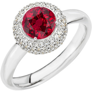 Popular Low Price on 1 carat 6mm Genuine GEM Quality Ruby & Diamond 14 KT White Gold Ring for SALE
