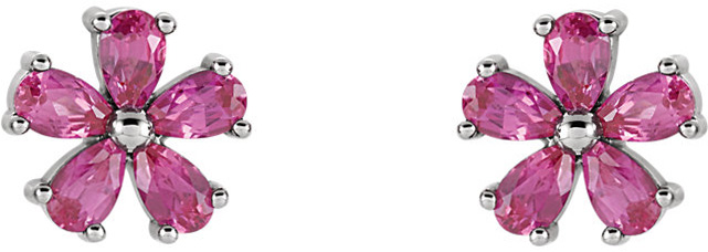 Post Back Flower Style Earrings Mounting for Pear Shape Centergems Sized 5.00 x 3.00 mm - Customize Metal or Gem Type