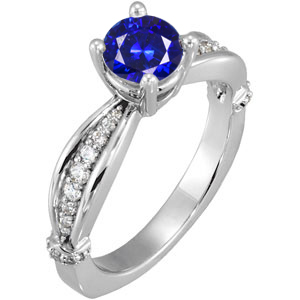 Precious 1 carat 6mm Deep Blue Sapphire Solitaire Engagement Ring - Dazzling Diamond Accents