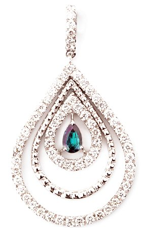 Precious Ripples Pear Shape Real Alexandrite Pendant With Multiple Open Diamond Frames in 14k Gold - 0.18 carats, 4.62 x 3.21 mm