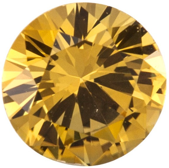Gemstone  Precision Cut Yellow Sapphire Gem, Round Shape, Grade AAA, 2.75 mm in Size, 0.09 Carats