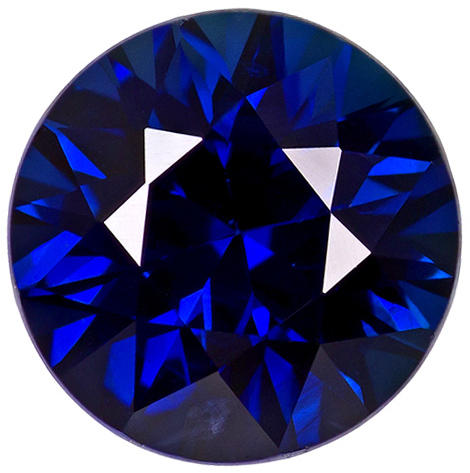 Precision Diamond Cut Round Genuine Blue Sapphire in Grade AA
