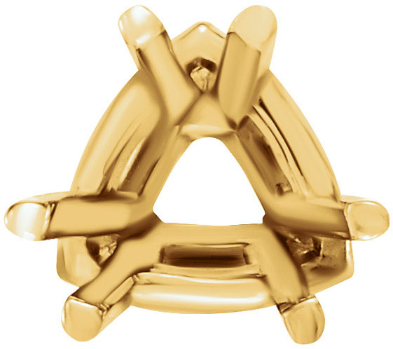 Pretty 14kt Gold 6-Prong Lightweight Setting for Trillion Shape Gemstone Sized 4.00 mm to 10.00 mm