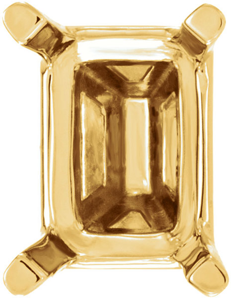 Pretty 14kt Gold Curved 4 Prong Setting for Emerald Shape Gemstone Sized 5.00 x 3.00 mm to 10.00 x 8.00 mm