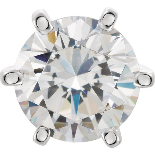 Pretty 14kt White 6-Prong Tall Peg Setting for Round Gemstone Sized 2.70 mm - 11.40 mm