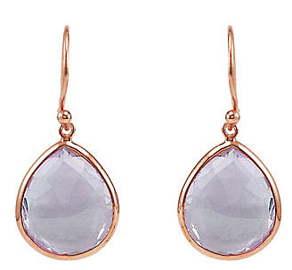 Pretty 16.2ct 16x14mm Pear Shaped Amethyst Wire Back Earrings in Plated in 14k Rose Gold - Feminine and Flirty Look