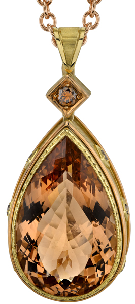 Pretty 18kt Yellow Gold 43.10ct Pear Shape Bezel Set Morganite Gemstone Pendant - 8 Round Brown Accents
