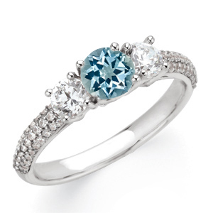 Pretty 1ct 6mm Aquamarine Gemstone Engagement Ring With Diamond Side Gems and Diamond Accents on Band