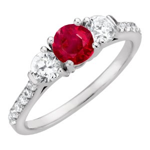 Pretty 3-Stone Natural Ruby Engagement Ring with Large 1 carat 6mm Ruby and Diamonds for SALE