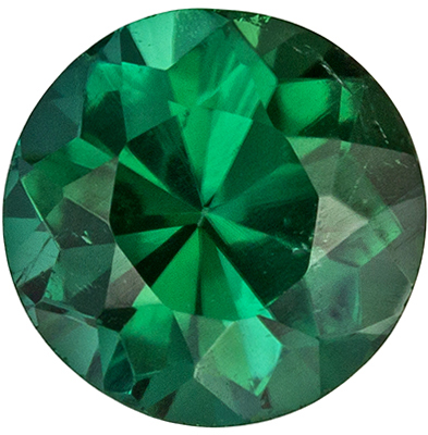 Pretty Blue Green Tourmaline Genuine Gem in Round Cut, Rich Forest Green, 5.1 mm, 0.56 carats