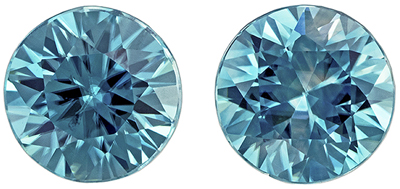 Pretty Blue Zircon Genuine Gem in Round Cut, Medium Blue Color, 5 mm, 1.45 carats