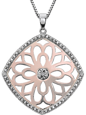 Pretty Bursting Flower 2-Tone Diamond Pendant for SALE - SOLD