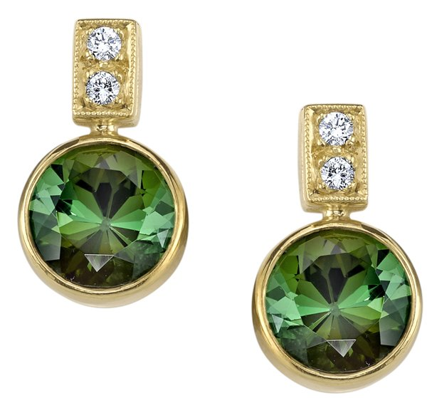 Pretty Handmade 18kt Yellow Gold Post Back Dangle Bezel Set Round Tourmaline Earrings - 0.20ctw Diamond Accents