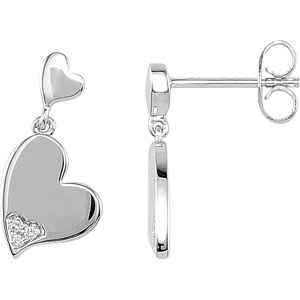 Pretty Heart Motif Diamond Accented Sterling Silver Earrings for SALE - .04 cts - SOLD